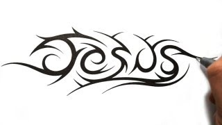 How to Draw Jesus in a Tribal Tattoo Design Style
