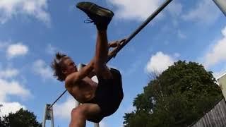 Allfails  shirtless guy tries to do flip monkey bars hits leg on bar falls
