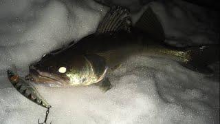 ЛОВЛЯ СУДАКА НА ВОБЛЕРЫ НОЧЬЮ Москва река зимний спиннинг в Чулково Рыбалка на спиннинг зимой