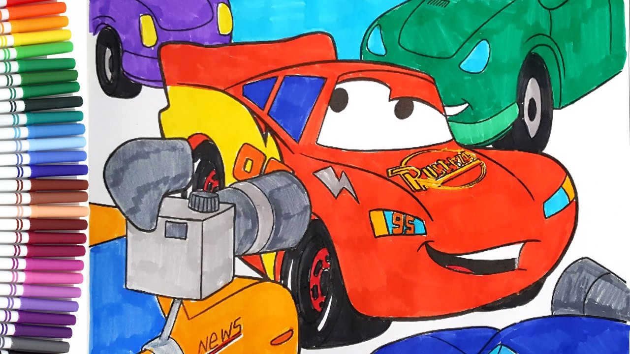 disney cars 3 lightning mcqueen interview kids coloring book