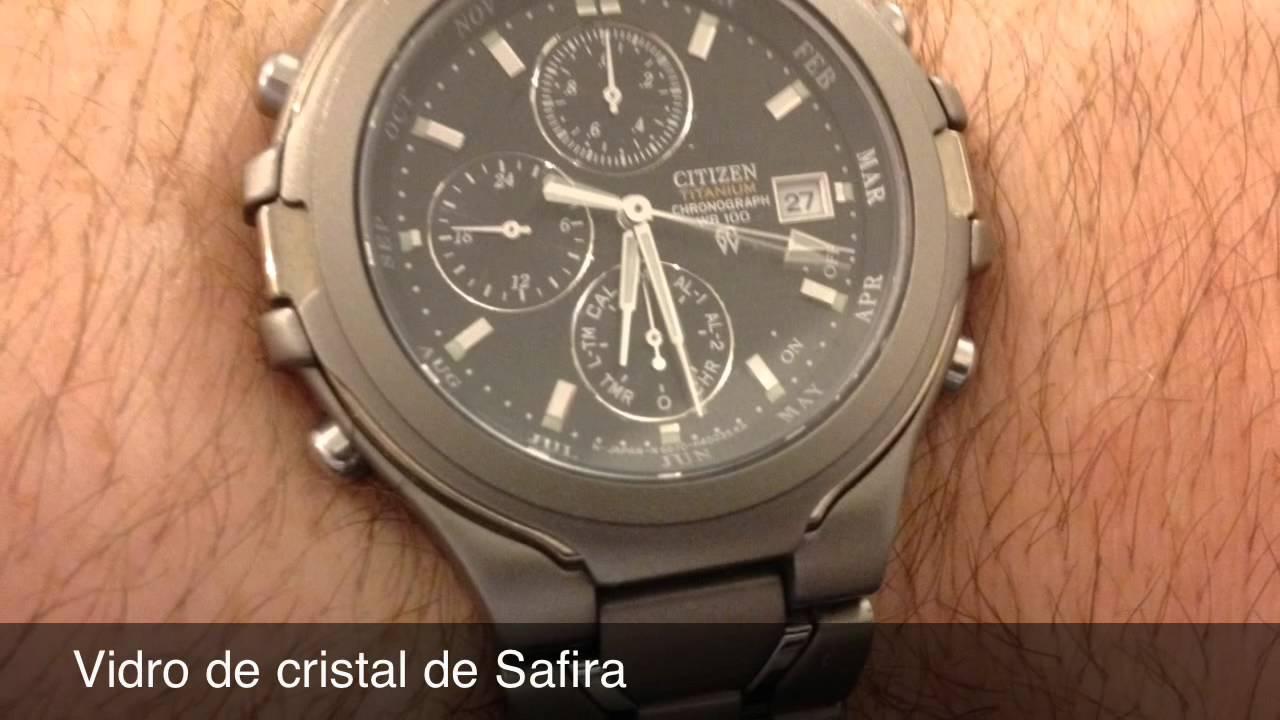 2d0d9b3d375 Compre Relógio CITIZEN TITANIUM Safira - YouTube
