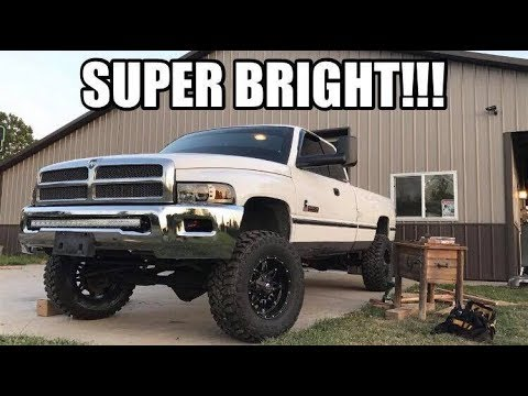 ULTIMATE TEST/REVIEW!!! Halo Projector Headlights & LIGHT BAR on My CUMMINS!!!