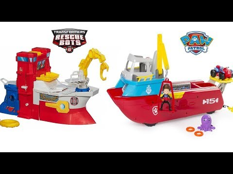 TRANSFORMERS RESCUE BOTS HIGH TIDE RESCUE RIG AND DEEP SEA WATER RESCUE, PAW PATROL SEA PATROLLER