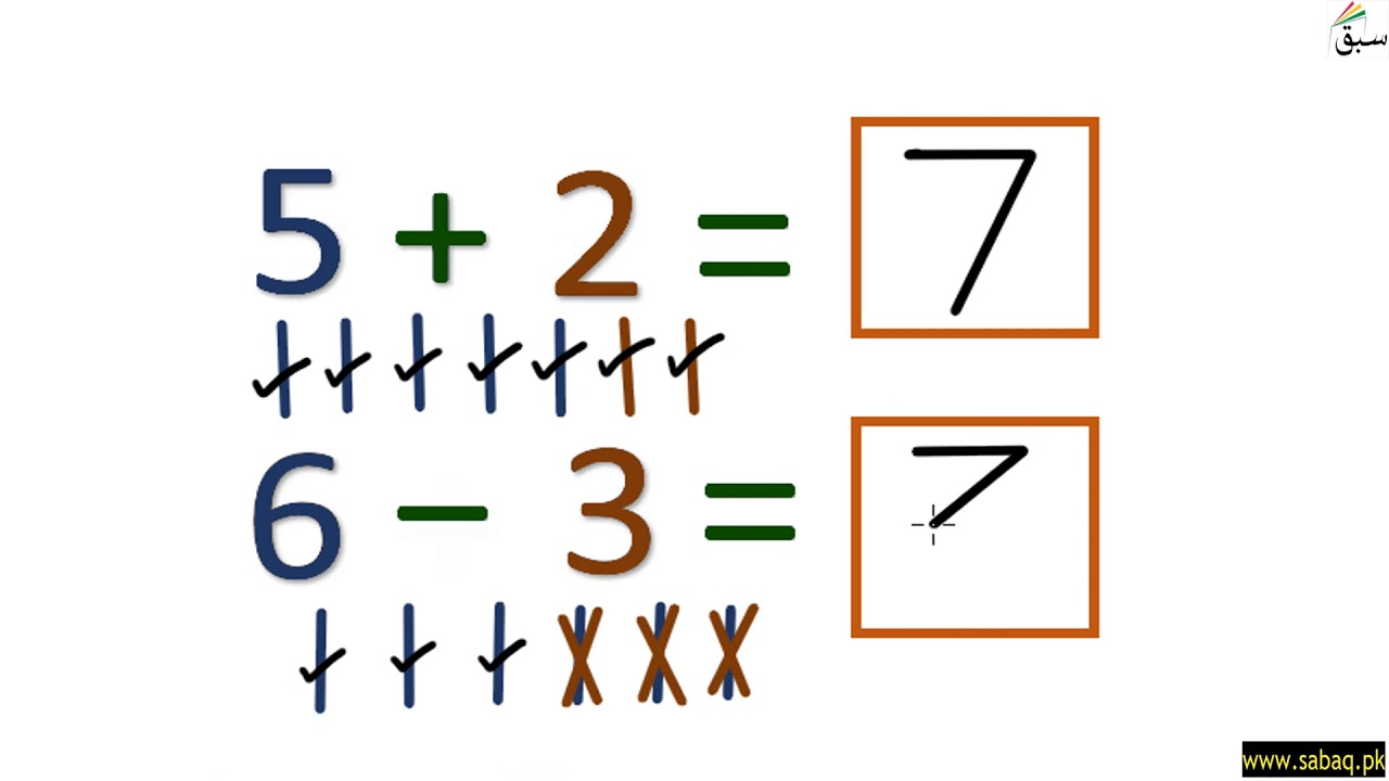 Addition subtraction worksheet: Write the number in box