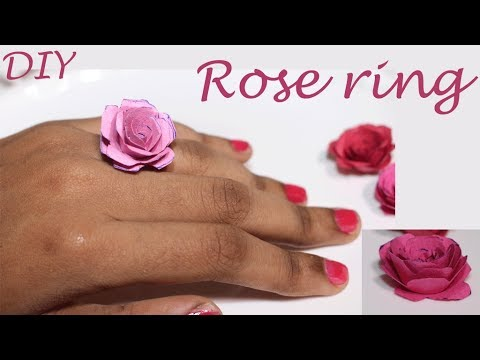 paper rose ring- How to make paper rose- Paper rose tutorial- Easy diy