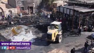 محافظة القاهرة تبدأ في رفع مخلفات حريق التونسي.. فيديو وصور
