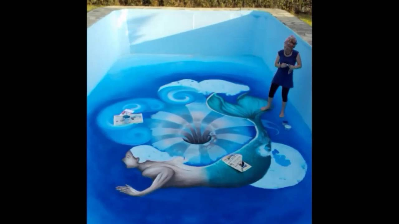 Swimming Pool Painters : D painting swimming pool mural a hole in the