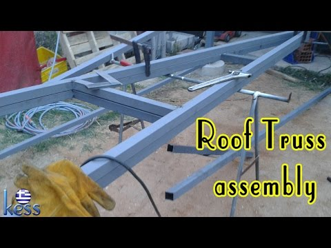 How to Build a Steel Structure House Part4 Roof Truss Assembly - Συναρμολόγηση ψαλίδια στέγης