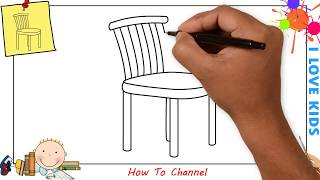 How to draw a chair EASY step by step for kids, beginners, children 2