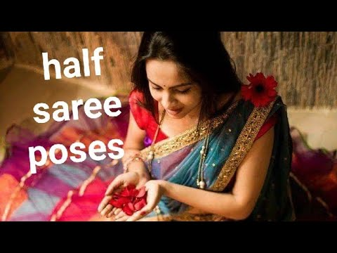 Beautiful Half Saree Poses For Girls //latest Photography Half Saree Designs For Girls .