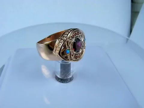Victorian Antique Cocktail Ring Garnet Pink Sapphire Opals 14K Rose Gold   VIDEO