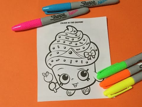 Shopkins Neon Sharpie Markers and Cupcake Queen Shopkins Coloring Page