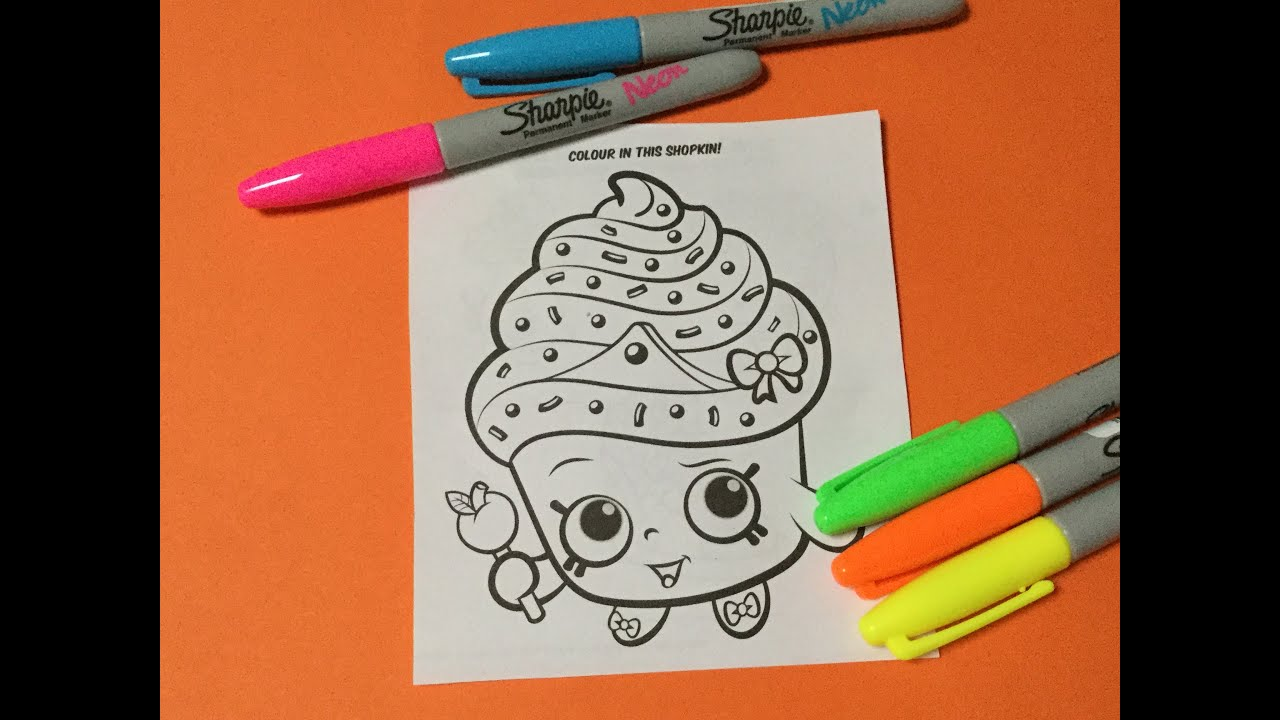 Shopkins Neon Sharpie Markers And Cupcake Queen Coloring Page