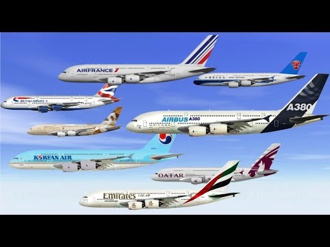 Airbus A380-800 various operators in flight (new extended edit)