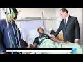 france president hollande meets black man allegedly raped severely injured by policemen
