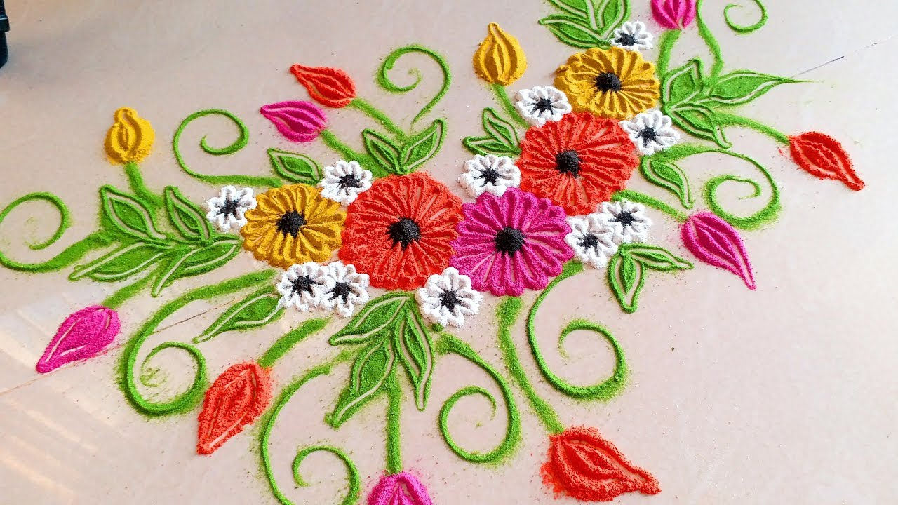how to draw simple rangoli designs