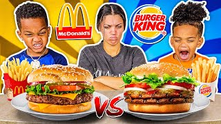 MCDONALDS VS BURGER KING FOOD CHALLENGE WITH THE PRINCE FAMILY!!