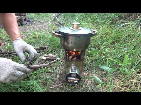 Печка дровяная с турбонаддувом - щепочница. Обзор.