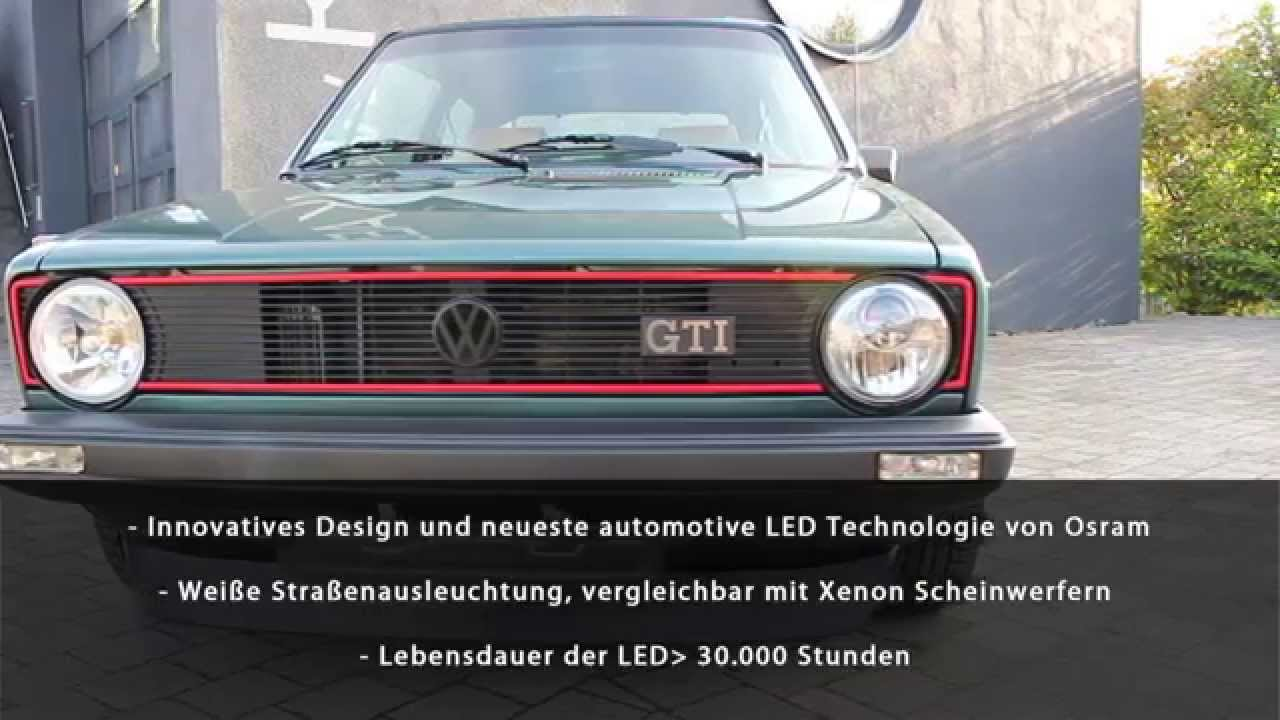 kaege retro led scheinwerfer vw golf i youtube. Black Bedroom Furniture Sets. Home Design Ideas