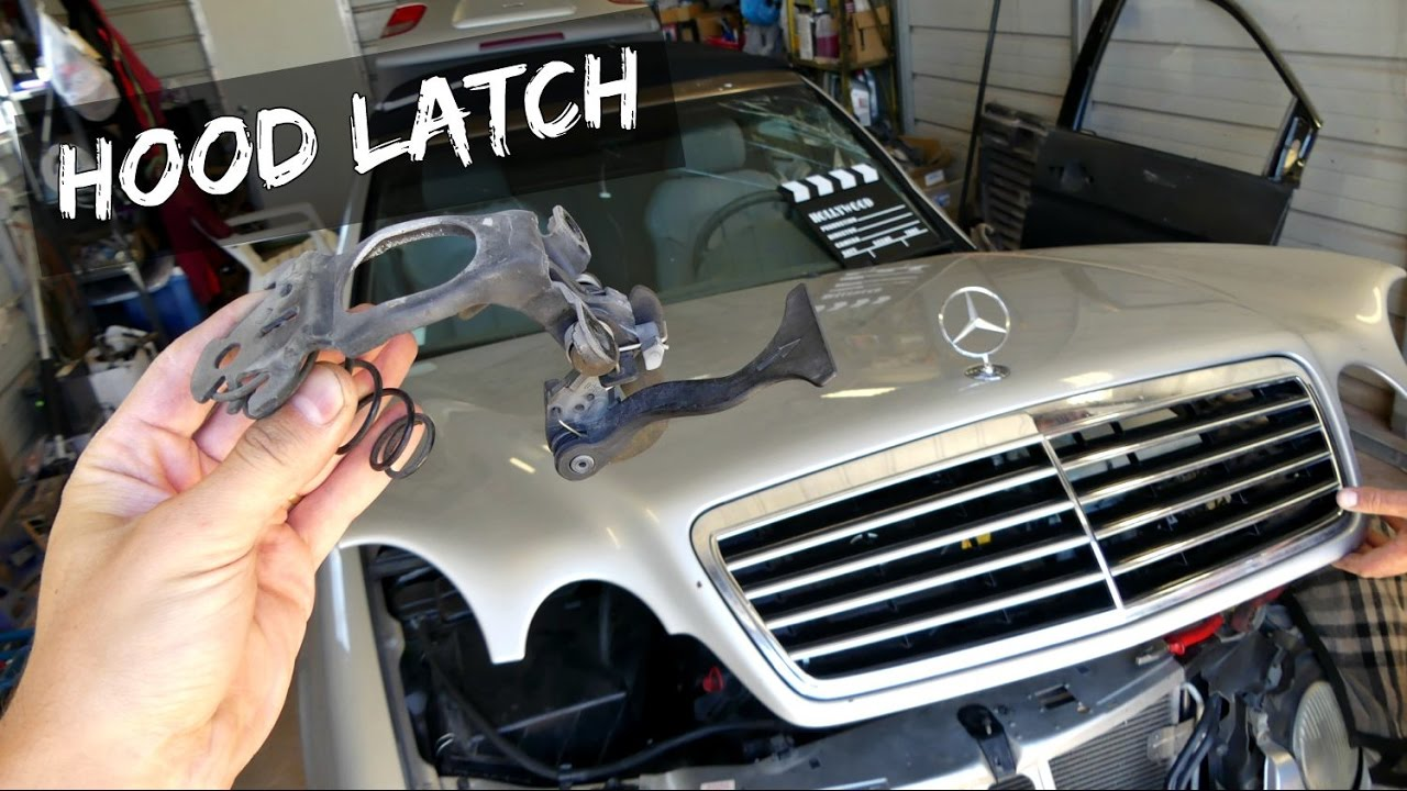 mercedes hood latch puller handle removal relacement w208 w202 w210 [ 1280 x 720 Pixel ]