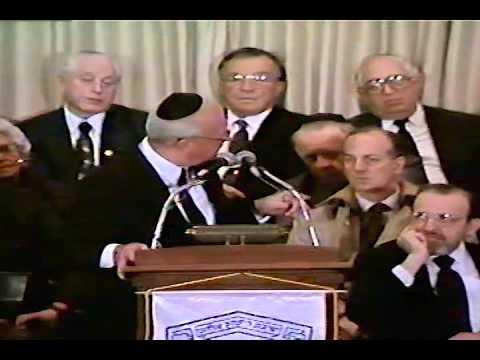 Yitzhak Rabin at Yeshiva University, 1993.
