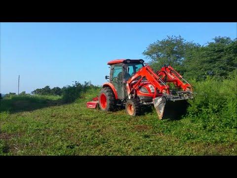 Kioti NX6010 & Bush Hog BH26 bushogging 5-6 foot brush (forward this time :)