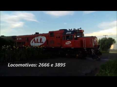 GE U20C-1 2666 e U20C 3895 saindo de Cornélio Procópio/PR sentido à Ourinhos/SP. 15/01/20.