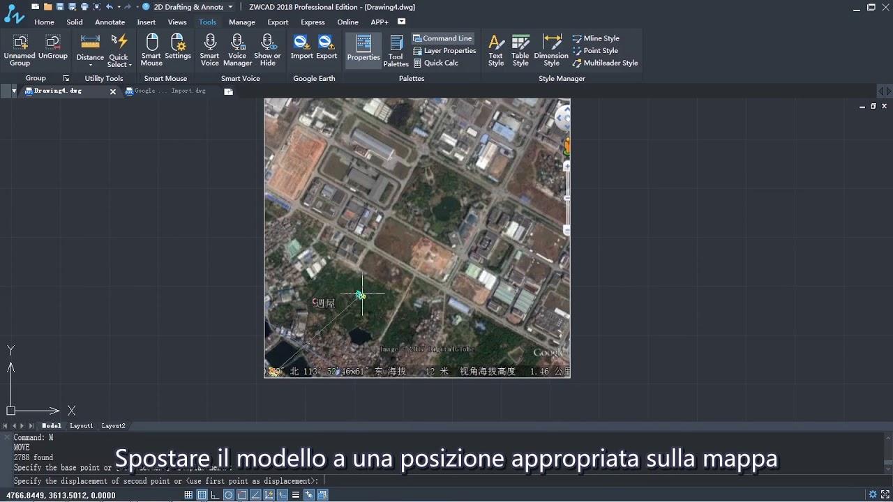 Cartina Italia Dwg.Google Earth Import Inserire Mappa Nel Disegno Italiano Youtube
