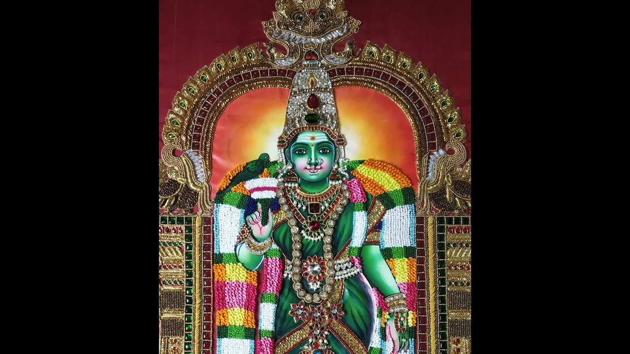 Madurai Meenakshi Amman -Tanjore Style Fabric Painting & Aari work/Sri Aari Creatives Aadi Velli Spl
