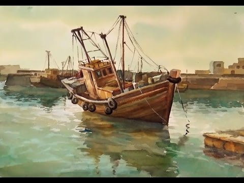 Watercolor Painting : Fishing Boats on Sea