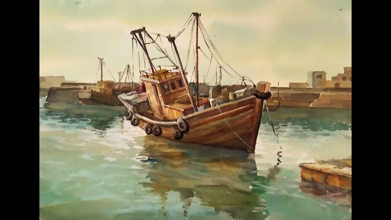 Watercolor painting fishing boats on sea youtube for Fishing boat painting