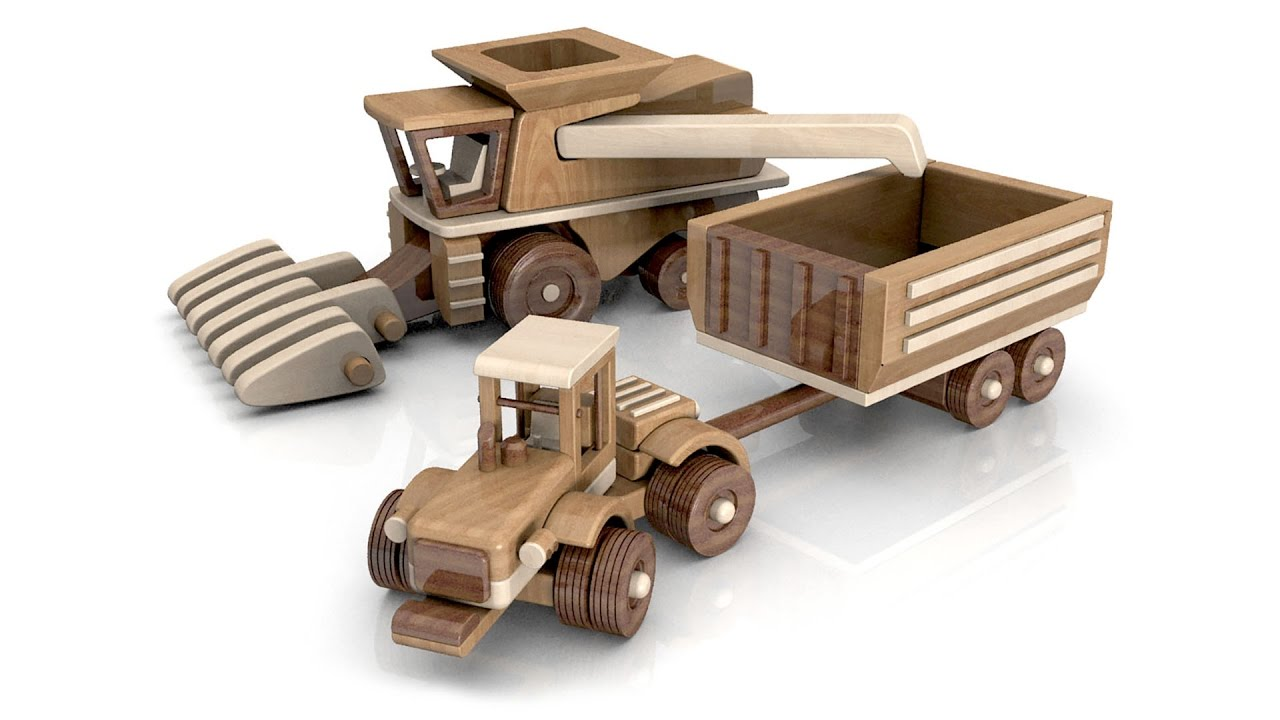 Wooden Tractor Plans : Wood toy plans big john farm tractor trailer combine