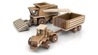 Wood Toy Plans   Big John Farm Tractor Trailer Combine