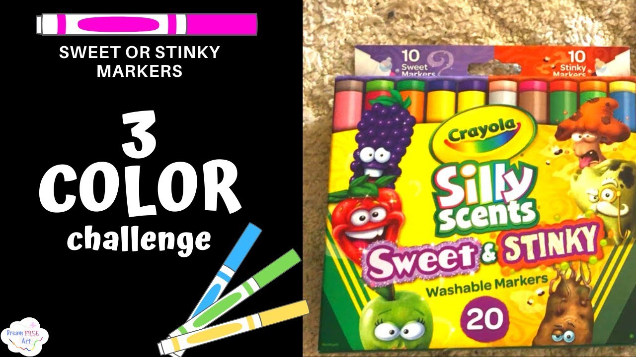 THREE MARKER CHALLENGE   WITH SWEET OR SMELLY MARKERS ...