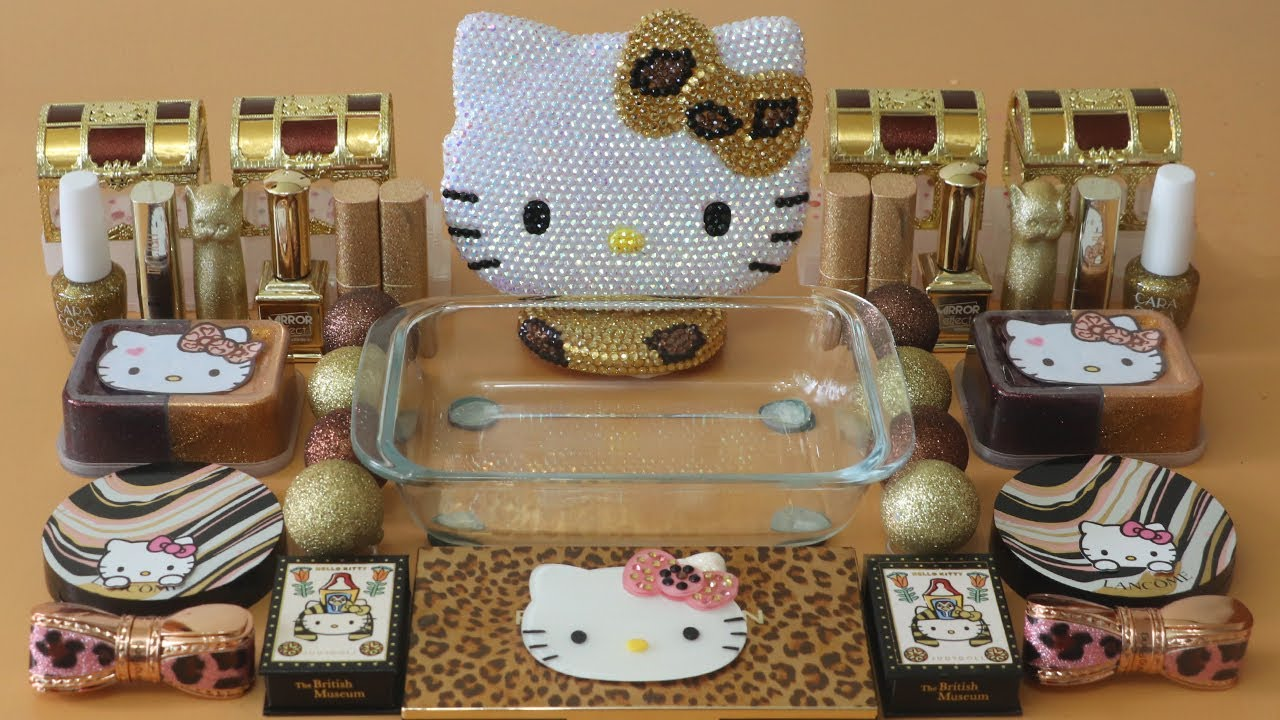 """Mixing""""Leopard Kitty"""" Eyeshadow and Makeup,parts,glitter Into Slime!Satisfying Slime Video!★ASMR★"""