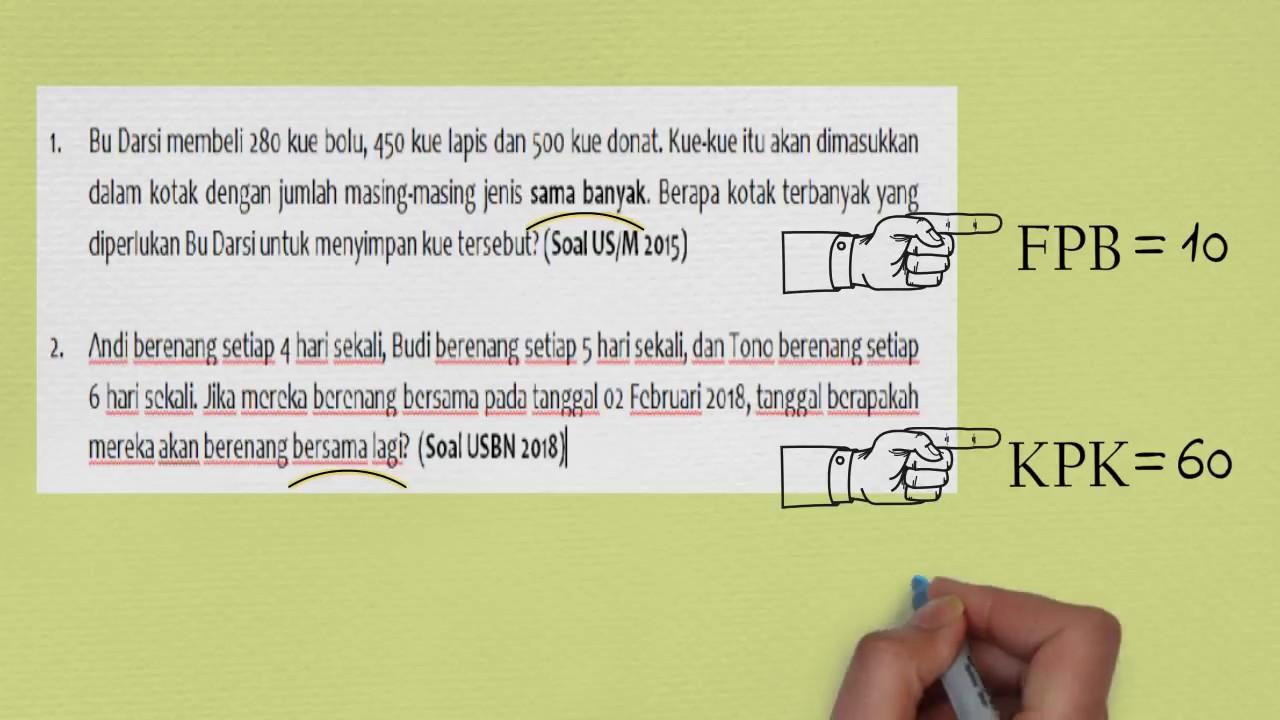 Soal Cerita Fpb Kpk Fpb Kpk Part 5 Youtube