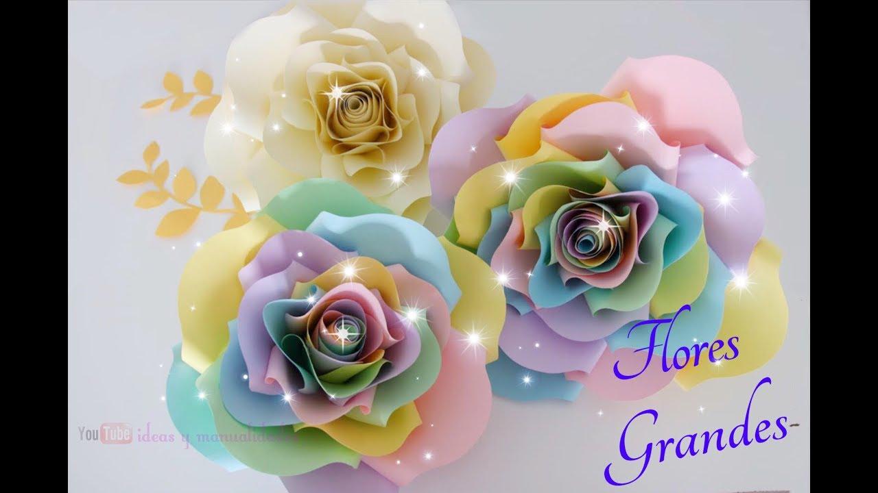 Como Hacer Flores Gigantes De Papel Flores Grandes Paper Flower Rosas Gigantes De Papel
