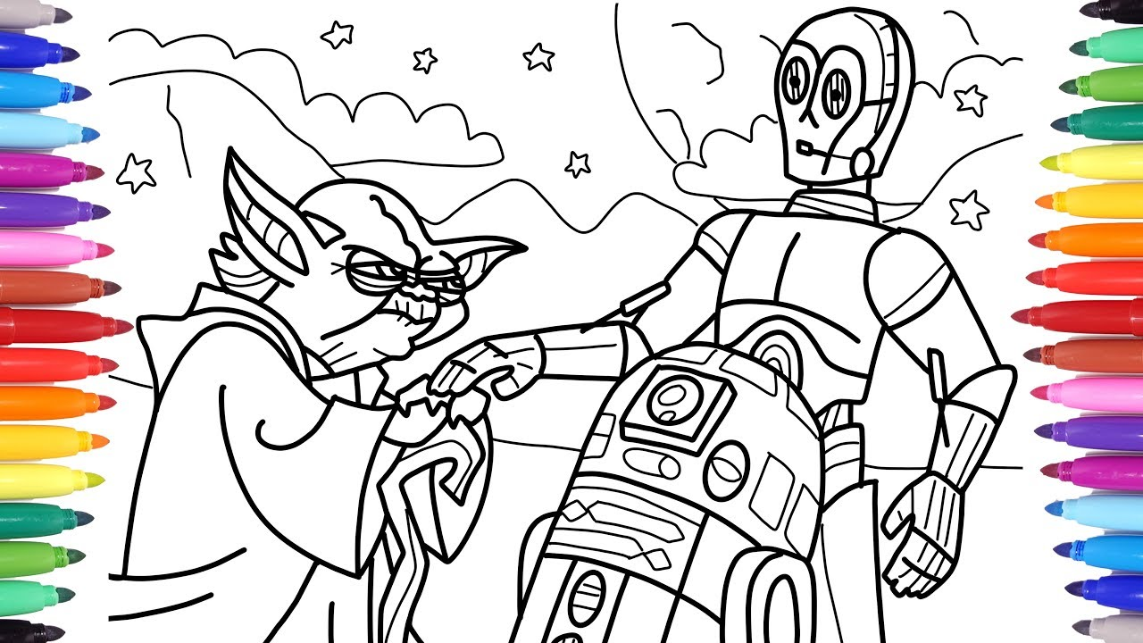 Star Wars Coloring Pages For Kids Coloring Yoda R2 D2 And C 3po Coloring Star Wars Characters Youtube