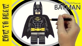 How to draw Lego BATMAN from The Lego Batman Movie easy tutorial and coloring!