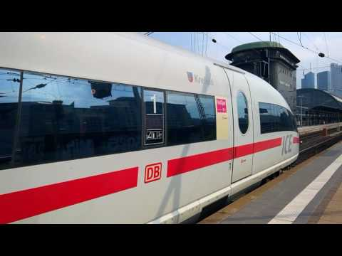 HD DB ICE High Speed Train Departing Frankfurt Station under heavy motor load