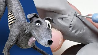 ZOMBIE DOG Sculpture from Start to Finish Out of Polymer Clay - Timelapse Tutorial