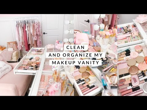 CLEANING AND ORGANIZING MY MAKEUP VANITY!💕