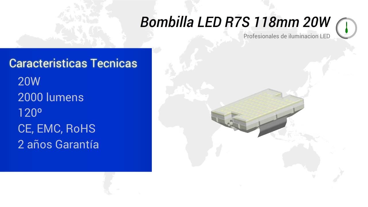 Bombilla led r7s 118mm 20w youtube for R7s led 118mm 20w