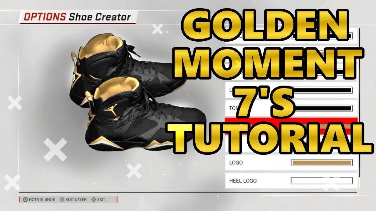 NBA 2K18 SHOE CREATOR TUTORIAL HOW TO MAKE AIR JORDAN GOLDEN MOMENT 7