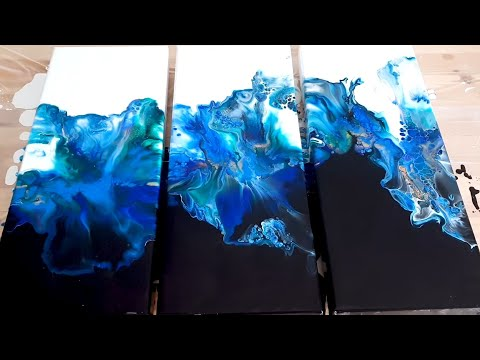 Acrylic Pouring - WOW!!! Color Split Triptych - Fluid art abstract painting