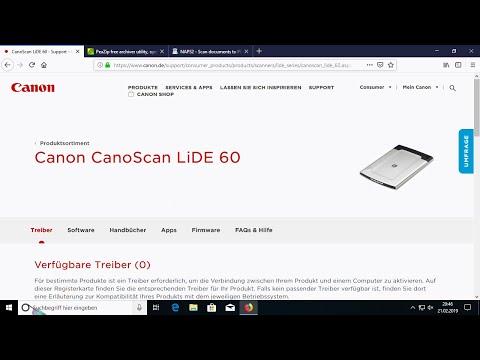 Any Older Canon LiDE Scanner (LiDE 60) On Windows 10 X64 (1909, 1803, Newest)