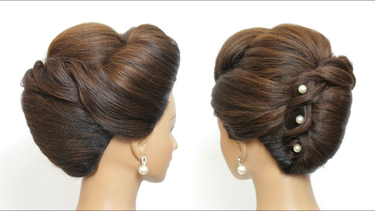 New French Roll Hairstyle Bridal Updo For Long Hair Tutorial Youtube