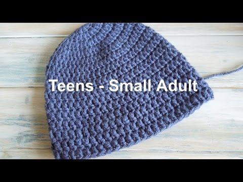 (crochet) How To - Crochet a Simple Beanie for Teens - Small Ladies Size  (20