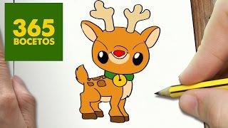 COMO DIBUJAR RUDOLF KAWAII PASO A PASO - Dibujos kawaii faciles - How to draw a Rudolf