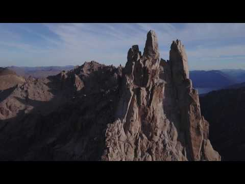 Drone footage of Refugio Frey & its surrounding peaks in 4k